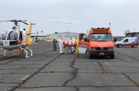 UTV de Aeroemergencias realizó el primer traslado aéreo de un paciente COVID19