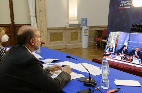 Martorano y Omar Perotti, en videoconferencia con el presidente, Alberto Fernández.