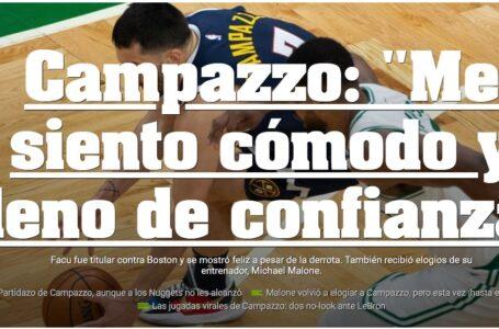 """Campazzo: """"Me siento cómodo y lleno de confianza"""""""