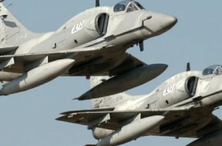 Hoy viernes un entrenamiento de la Fuerza Aérea para el Día de la Bandera, surca el cielo funense