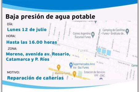 Hoy lunes 12 de julio hasta las 16:00 horas, se registrará baja presión en el suministro de agua potable